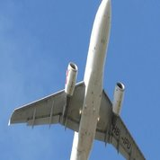 Airplane-takeoff-on-blue-sky