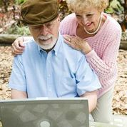 Older couple computer
